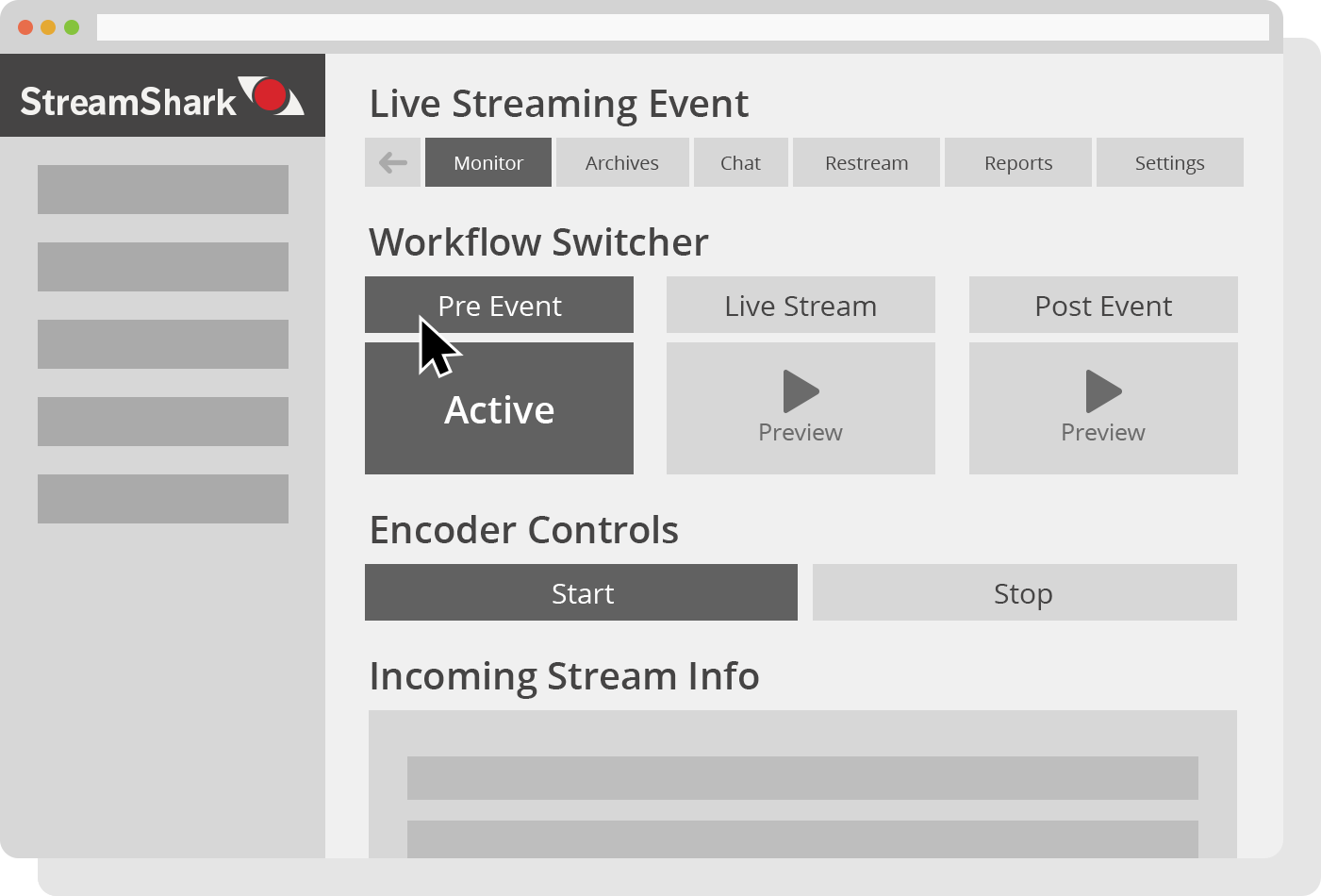 Live Streaming Workflow With Encoder Controls